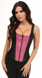 Top Drawer Black Satin & Fierce Fuchsia Glitter Steel Boned Corset w/Straps