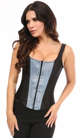 Top Drawer Black Satin & Sapphire Shimmer Glitter Steel Boned Corset w/Straps