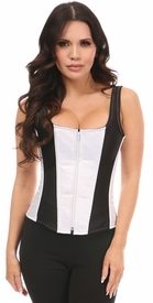 Top Drawer White Satin w/Black Steel Boned Corset w/Straps