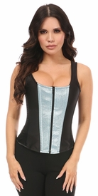 Top Drawer Black Satin & Confetti Pop Glitter Steel Boned Corset w/Straps