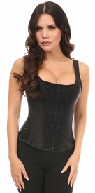 Top Drawer Black Satin w/Black Lace Overlay Steel Boned Corset w/Straps