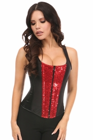 Top Drawer Red Sequin Steel Boned Corset w/Straps
