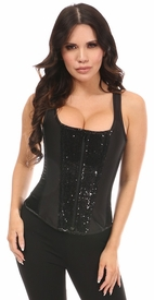 Top Drawer Black Sequin Steel Boned Corset w/Straps