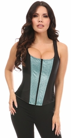 Top Drawer Black Satin & Sparkling Waters Glitter Steel Boned Corset w/Straps
