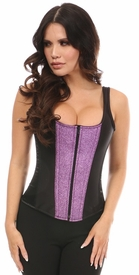 Top Drawer Black Satin & Grape Glitz Glitter Steel Boned Corset w/Straps