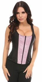 Top Drawer Black Satin & Posh Pink Glitter Steel Boned Corset w/Straps