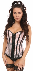 Lavish Lt Pink Sheer Lace & Faux Leather Overbust Corset