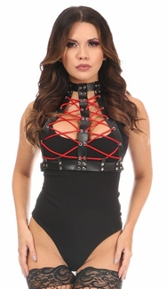 Matte Black Vegan Leather Lace-Up Harness - IN STOCK