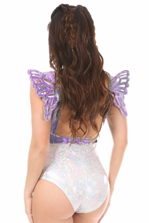 Lavender Holo Body Harness w/Wings - IN STOCK