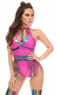 2 PC Rainbow Holo Body Harness Set - IN STOCK