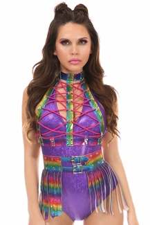 2 PC Rainbow Glitter Holo Body Harness Set - IN STOCK