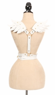 White & Gold Vegan Leather Angel Wing Harness - IN STOCK