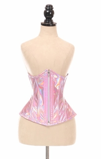 Top Drawer Pink Holo Under Bust Corset w/Zipper - IN STOCK
