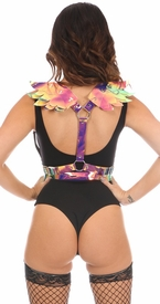Rainbow Holo Body Harness w/Wings - IN STOCK