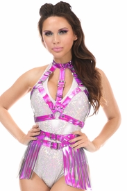 2 PC Fuchsia Holo Body Harness Set - IN STOCK