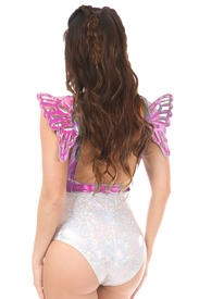 Fuchsia Holo Body Harness w/Wings - IN STOCK