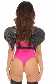 Black Vegan Leather Angel Wings- IN STOCK