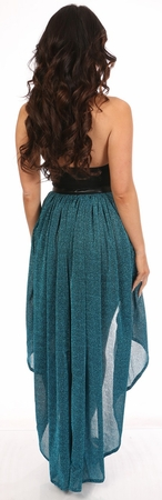 Teal Glitter Hi Low Skirt