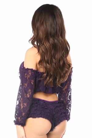 Plum Sheer Lace Long Sleeve Peasant Top - IN STOCK