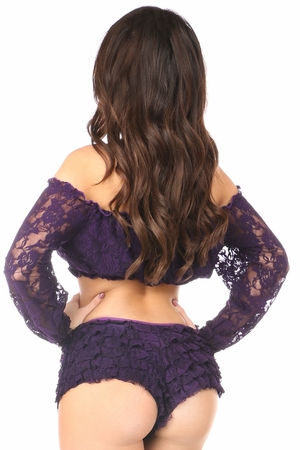 Plum Lined Lace Long Sleeve Peasant Top - IN STOCK