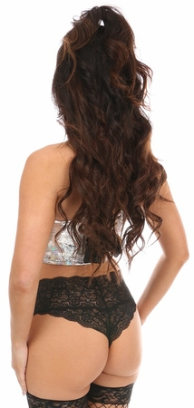 Lavish Silver Crackle Short Bustier Top