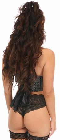 "Lavish Black ""Rhinestone"" Short Bustier Top"