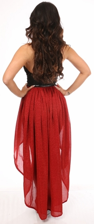 Red Glitter Hi Low Skirt