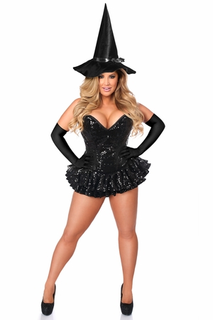 Top Drawer Premium Sequin Witch Corset Dress Costume