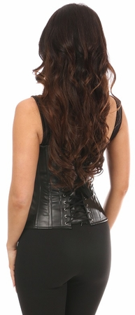 Top Drawer Black Faux Leather Steel Boned Corset w/Straps