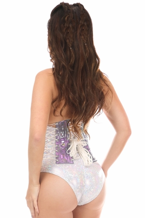 Top Drawer Lavender Holo Steel Boned Under Bust Corset - IN STOCK
