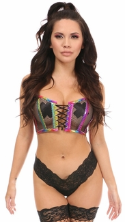Lavish Rainbow PVC Glitter & Fishnet Lace-Up Short Bustier Top - IN STOCK
