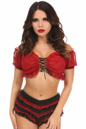 Red Sheer Glitter Lace-Up Top - IN STOCK