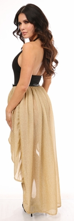 Gold Glitter Hi Low Skirt