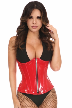 Top Drawer Red Patent PVC Steel Boned Under Bust Corset - IN STOCK