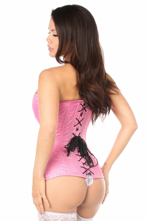 Top Drawer Pink Brocade Steel Boned Corset - IN STOCK