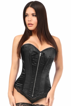 Top Drawer Black Satin Steel Boned Corset - IN STOCK