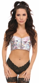 Lavish Pink Crackle Short Bustier Top