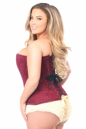 Lavish Wine Lace Overbust Corset w/Zipper - IN STOCK