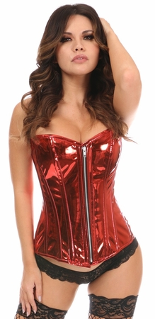 Top Drawer Red Metallic Steel Boned Overbust Corset - IN STOCK