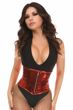Top Drawer Red Metallic PVC Steel Boned Mini Cincher - IN STOCK