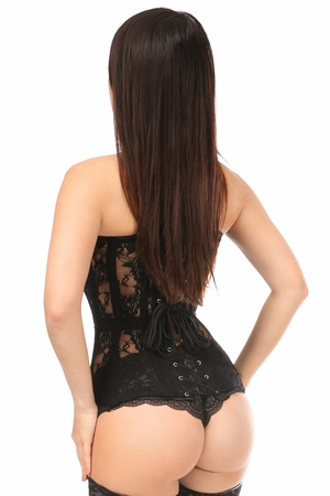 Lavish Black Sheer Lace Over Bust Corset - IN STOCK