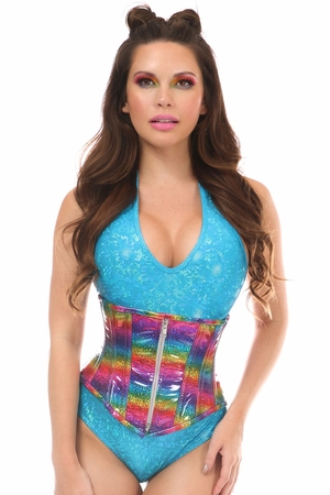 Top Drawer Rainbow Glitter Holo Steel Boned Mid Under Bust Corset - IN STOCK