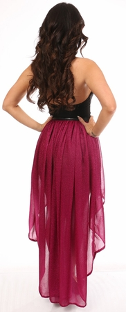 Fuchsia Glitter Hi Low Skirt