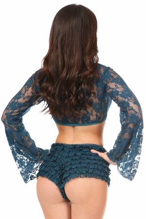 Dark Teal Sheer Lace Bell Sleeve Peasant Top - IN STOCK