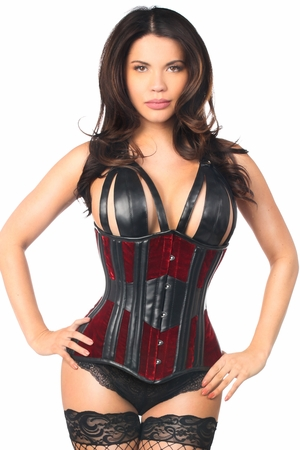 Top Drawer Red Velvet Steel Boned Underbust Corset - IN STOCK