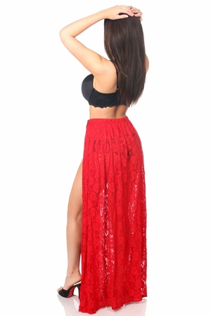 Sheer Red Lace Skirt - IN STOCK