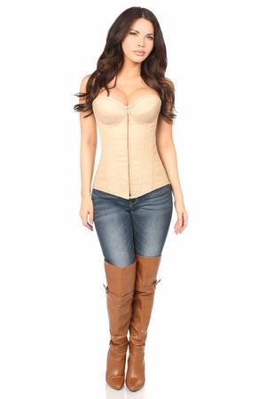 Top Drawer Tan Cotton Underwire Steel Boned Corset