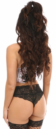 Lavish Pink Crackle Lace-Up Short Bustier Top