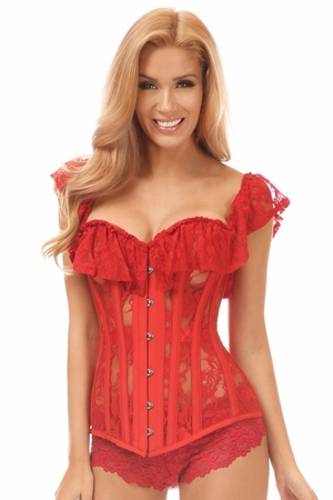 Top Drawer Red Sheer Lace Steel Boned Corset - IN STOCK