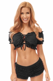Black Lycra Lace-Up Front Peasant Top - IN STOCK